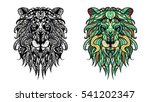 patterned head of the lion.... | Shutterstock .eps vector #541202347