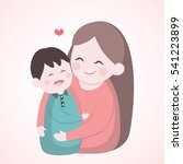 mother hugging with her son ... | Shutterstock .eps vector #541223899