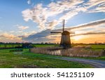 windmill sunset silhouette... | Shutterstock . vector #541251109