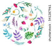watercolor pattern with flowers ... | Shutterstock . vector #541287961