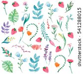 watercolor pattern with flowers ... | Shutterstock . vector #541288015