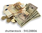 Dollars Euros And Coins Locate...