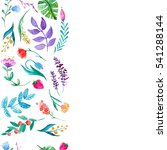 watercolor pattern with flowers ... | Shutterstock . vector #541288144