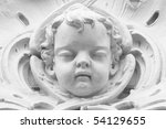 architectural church  fragment, angel face sculpture