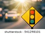 traffic light warning sign on... | Shutterstock . vector #541298101