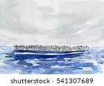 watercolor illustration of ship ...   Shutterstock . vector #541307689