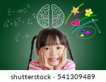 asian child rest her chin on... | Shutterstock . vector #541309489