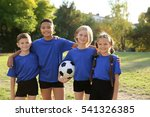 cute kids with football ball on ... | Shutterstock . vector #541326385