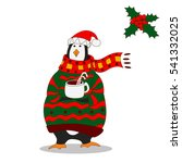 funny penguin. christmas hat.... | Shutterstock .eps vector #541332025