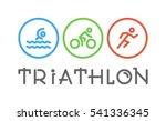 vector line logo triathlon.... | Shutterstock .eps vector #541336345