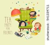 group of friends having a tea...   Shutterstock .eps vector #541339711