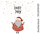 merry christmas card with cute... | Shutterstock .eps vector #541345435