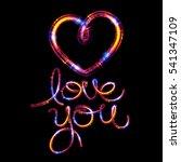 glow heart on backdrop. shine... | Shutterstock . vector #541347109