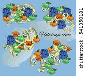 vector drawn doodles of holiday ... | Shutterstock .eps vector #541350181