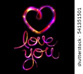 glow heart on backdrop. shine... | Shutterstock . vector #541351501