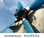 Small photo of Airplane propeller with sky background