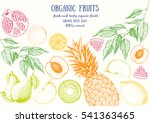fruits top view frame with pear ... | Shutterstock .eps vector #541363465