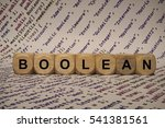 Small photo of boolean - cube with letters and words from the computer, software, internet categories, wooden cubes