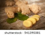 ginger root slices on rustical...   Shutterstock . vector #541390381