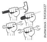 set of hands holding tools in... | Shutterstock .eps vector #541416127