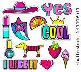 set of cute girlish stickers... | Shutterstock .eps vector #541449511