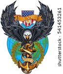 american eagle anchor and globe  | Shutterstock .eps vector #541453261