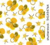 hibiscus flowers seamless... | Shutterstock .eps vector #541454764