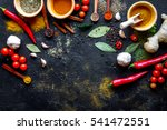 spices in wooden spoons on... | Shutterstock . vector #541472551