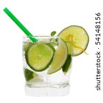 mojito cocktail drink with lime isolated on a white background - stock photo