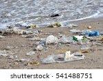 beach pollution. plastic... | Shutterstock . vector #541488751