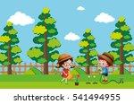 kids watering plant in garden... | Shutterstock .eps vector #541494955