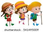 three kids with walking sticks... | Shutterstock .eps vector #541495009