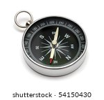 compass on white backgroun - stock photo