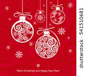 christmas balls on a red... | Shutterstock .eps vector #541510681