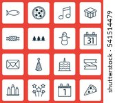 set of 16 holiday icons.... | Shutterstock .eps vector #541514479