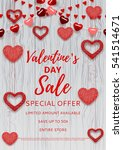Valentine's Day sale poster. Romantic composition with garlands from paper. Beautiful backdrop with heart from threads on wooden texture. Vector illustration. | Shutterstock vector #541514671