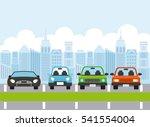 parked cars iin parking zone.... | Shutterstock .eps vector #541554004