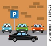 parked cars in a parking zone... | Shutterstock .eps vector #541554121