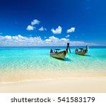 beautiful blue caribbean sea... | Shutterstock . vector #541583179