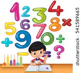 boy counting numbers on the... | Shutterstock .eps vector #541589665