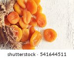 dried apricots on white rustic...   Shutterstock . vector #541644511