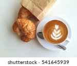 Latte Art Coffee With Croissan...