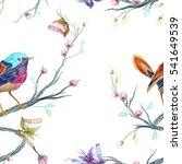 vintage seamless pattern  bird  ... | Shutterstock .eps vector #541649539