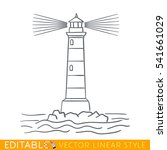 lighthouse. editable outline... | Shutterstock .eps vector #541661029