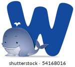 W for Whale - Vector - stock vector