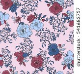 roses flower pattern on a pink... | Shutterstock .eps vector #541683757