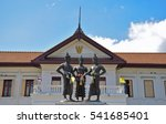 Small photo of 3 Kings Monument in front of Art and culture city with blue sky, blue sky cloud, Chiang Mai,northern of Thailand