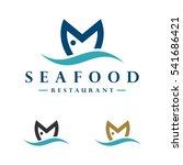 m letter fish logo template | Shutterstock .eps vector #541686421