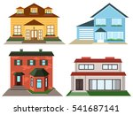 Set Of  Colorful Cottage Houses