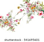 watercolor painting of leaves... | Shutterstock . vector #541695601